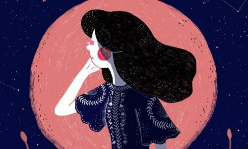 Kobieta na tle księżyca