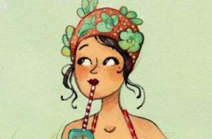 kobieta pije drinka przez rurkę