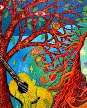 Kolorowa kobieta z gitarą i drzewem w tle