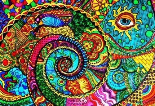 Kolorowy rysunek i oko.