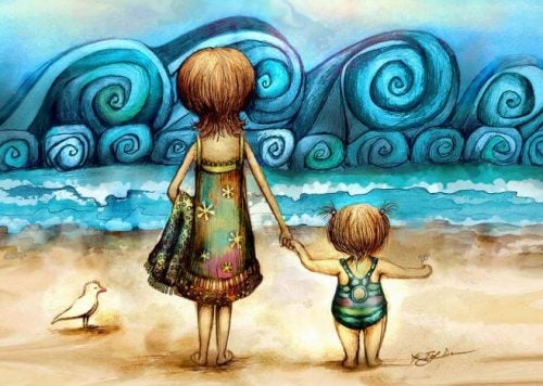 Mama i dziecko na plaży