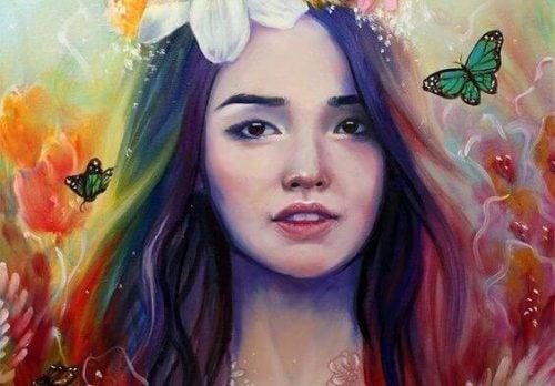 twarz dziewczyny o kolorowych włosach