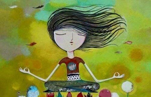 Zrelaksowana dziewczyna medytuje