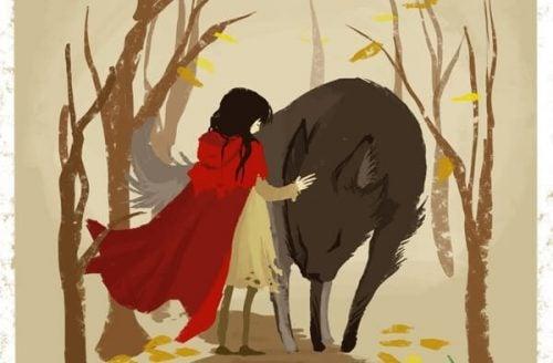 Czerwony kapturek z wilkiem w lesie