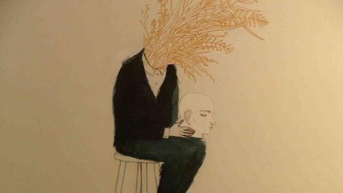 Człowiek ze zbożem wyrastającym z szyi trzyma głowę na kolanach