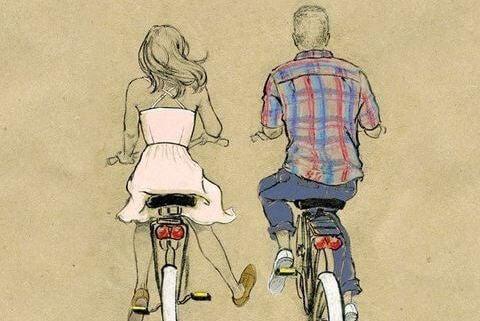 Dwoje ludzi na rowerze