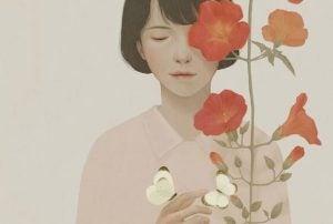 Dziewczyna i kolorowe kwiaty.