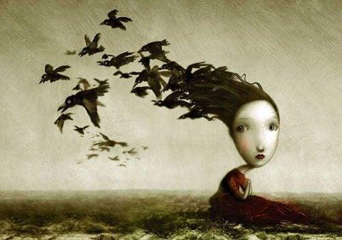 Dziewczyna z ptakami wylatującymi z włosów