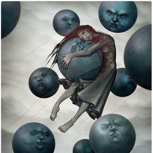 Dziewczyna unosi się wśród smutnych księżyców