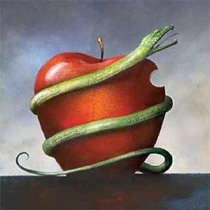 Grzech - wąż i jabłko.