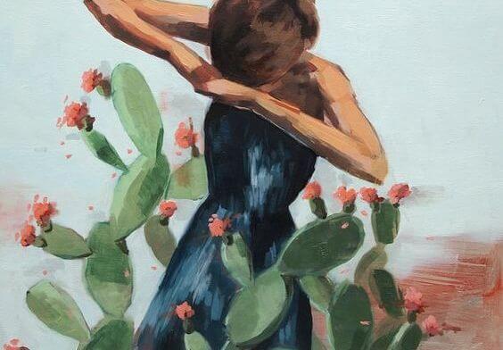 Kobieta i kaktus.