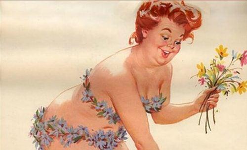 Kobieta przy kości zbiera kwiaty