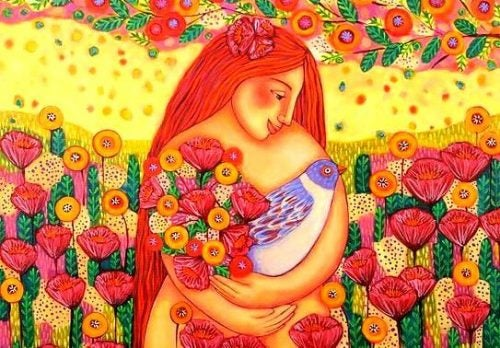 Obfitość - kobieta z kwiatami i ptakiem w rękach