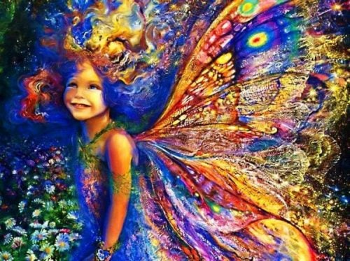 Kolorowa dziewczynka ze skrzydłami