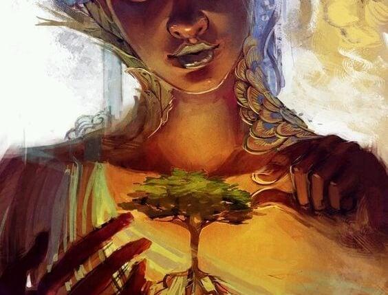 Matka natura trzyma w dłoniach małe drzewko.