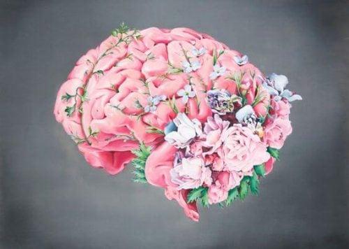 Dobroć jako mózg pokryty kwiatami