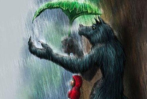 Ogromny wilk trzyma parasol nad czerwonym kapturkiem