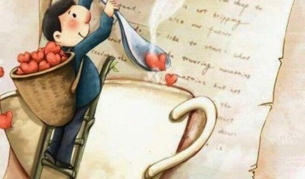Mężczyzna wrzuca serce do filiżanki kawy