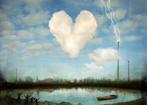 Chmura w kształcie serca.