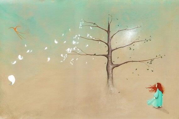 Drzewo i rudowłosa dziewczynka.