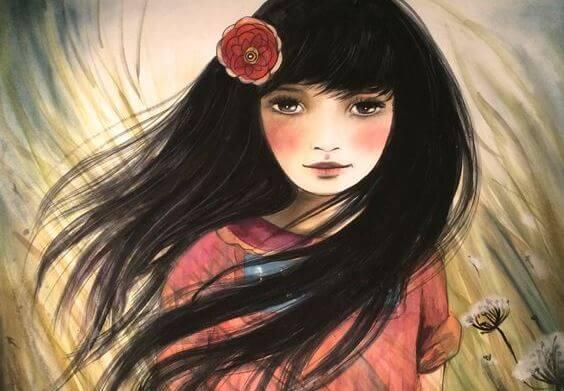 Dziewczyna z kwiatem we włosach.