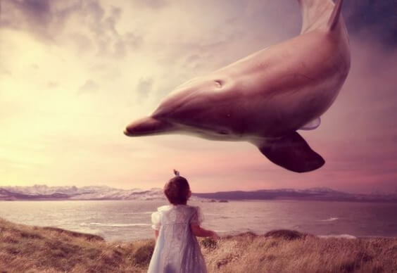 Dziewczynka i delfin.