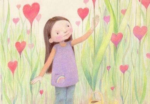 Dziewczynka zbiera kwiaty