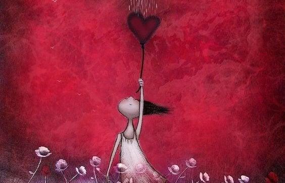 Chińskie przysłowia - dziewczynka z balonikiem w kształcie serca.