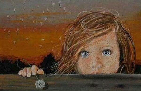 Dziewczynka z niebieskimi oczami.