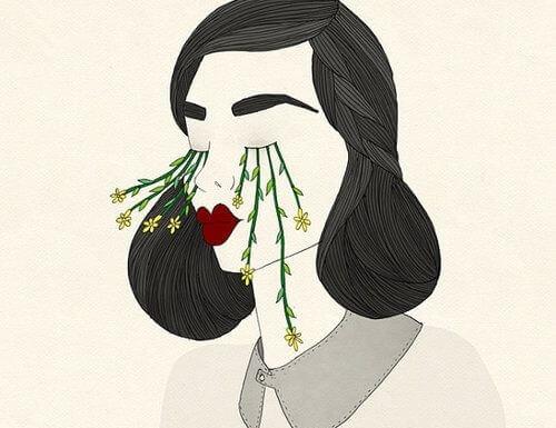 Kobieta i kwiaty.
