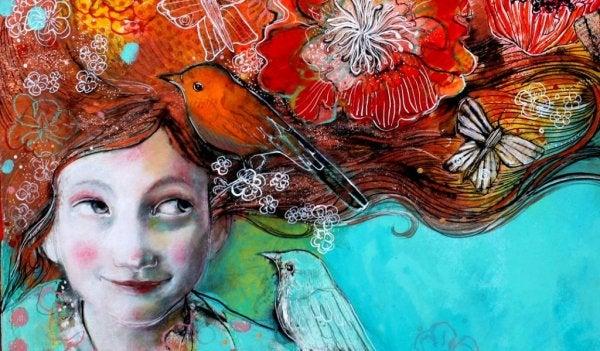 Dziewczyna z ptaszkiem we włosach.