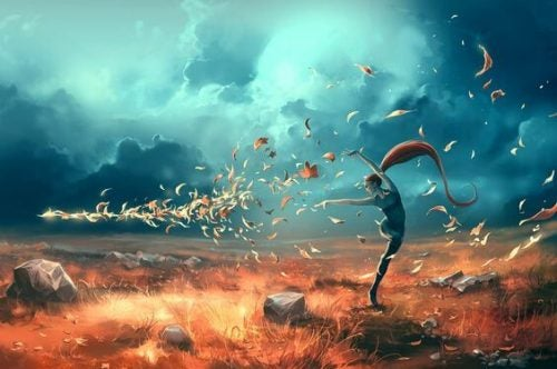 Kobieta i wiatr