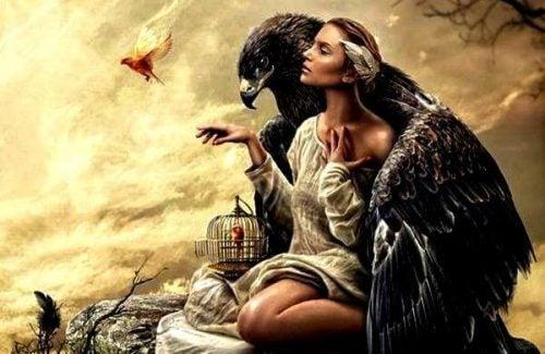 Kobieta i wielki orzeł.