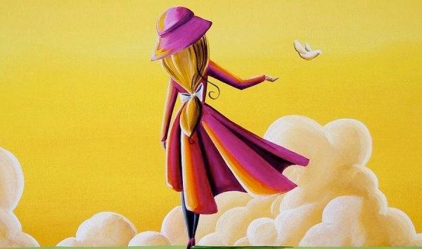 Kobieta i żółte niebo.