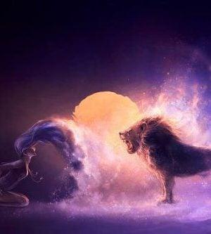 Motywowanie innych - kobieta przed lwem