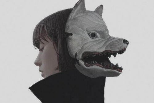 Kobieta z maską wilka - brak energii