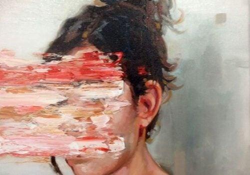 Kobieta wymazana twarz