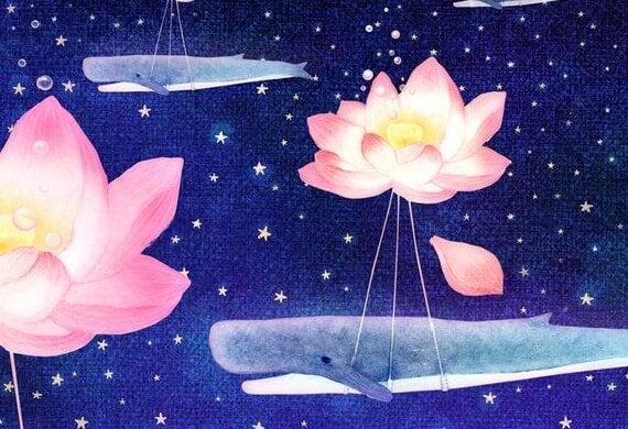 Wieloryb uwięziony przez kwiaty lotosu.