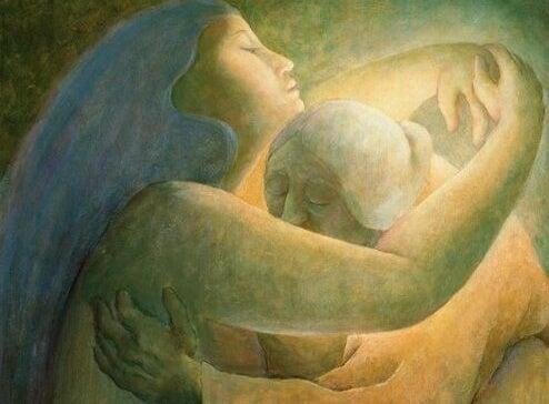 Dwie przytulające sie kobiety.