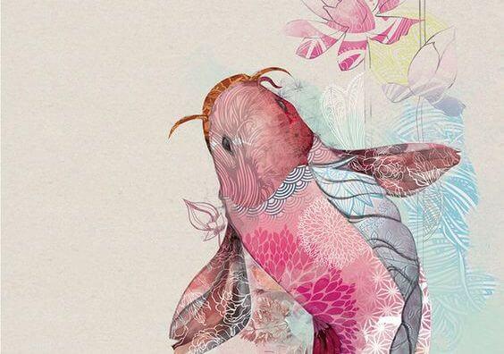 Różowa ryba ze skrzydłami.