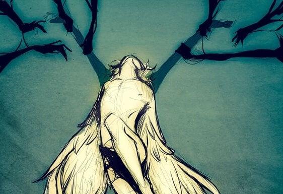 Mężczyzna ze skrzydłami.