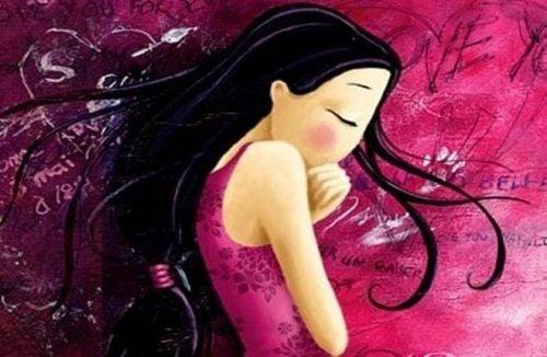 Smutna dziewczyna w kolorze różowym