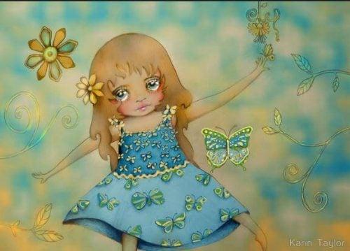 Smutna dziewczynka bawi się z motylami