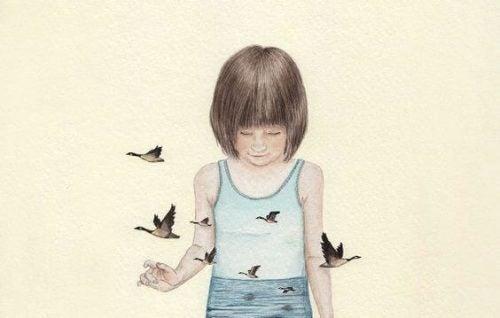 Smutna dziewczynka i latające ptaki