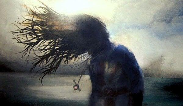 Dziewczyna z włosami rozwianymi na wietrze