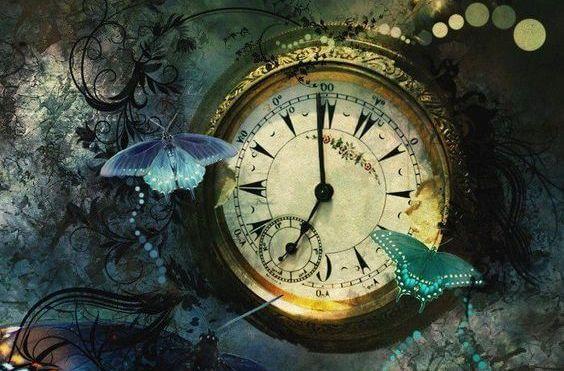 Czas - zegar i motyle.