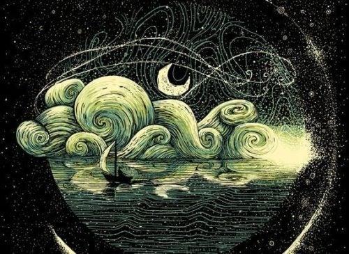 Łódka nocą nad jeziorem