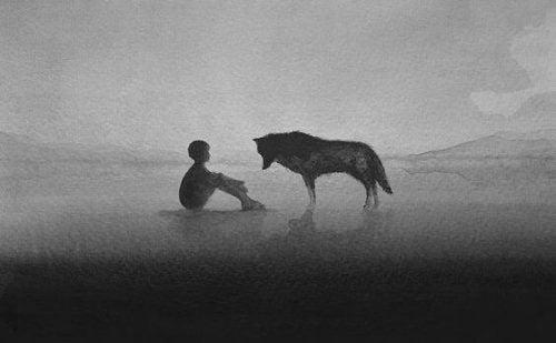Negatywność - chłopak i wilk we mgle