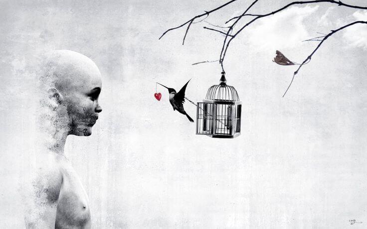 Chłopiec i ptaszek z sercem w dzióbku.