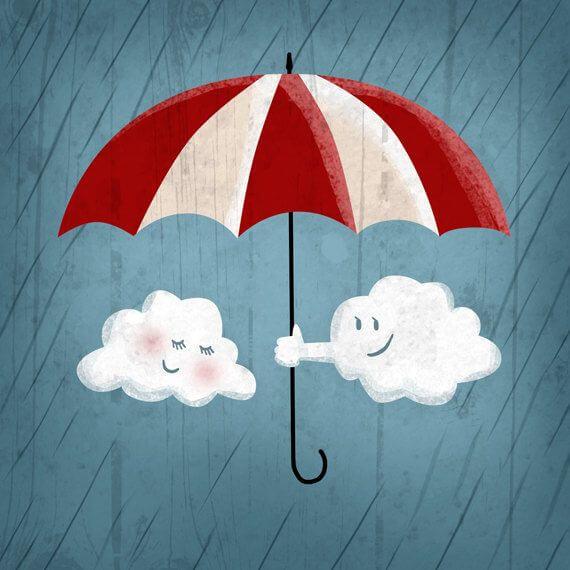 Uśmiechnięte chmurki trzymające parasol.